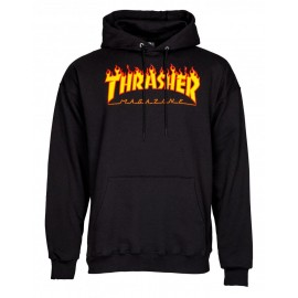 THRASHER Skateboard Magazine Sweat shirt flame logo black