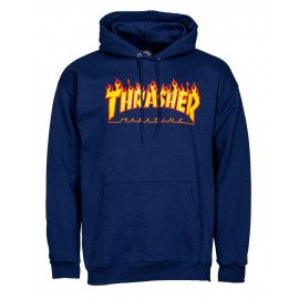 THRASHER Skateboard Magazine Sweat shirt flame logo navy