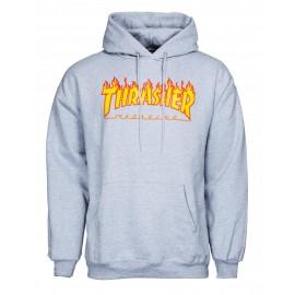 THRASHER Skateboard Magazine Sweat shirt flame logo grey