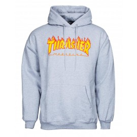 THRASHER Skateboard Magazine Sweat shirt flame logo grey