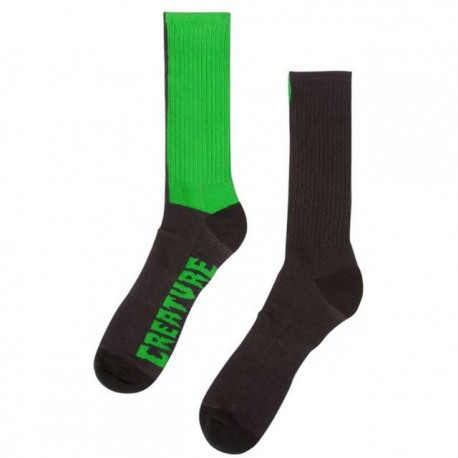 Creature Fifty Fifty Crew Socks - Black/Green