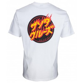 Santa Cruz T-Shirt Flaming Japanese Dot White