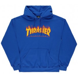 THRASHER Skateboard Magazine Sweat shirt flame logo royal