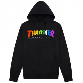 THRASHER Skateboard Magazine Rainbow  Sweat shirt black