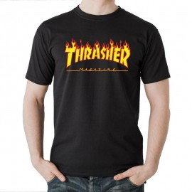 THRASHER  Skateboard Magazine Flame Logo Black T-shirt