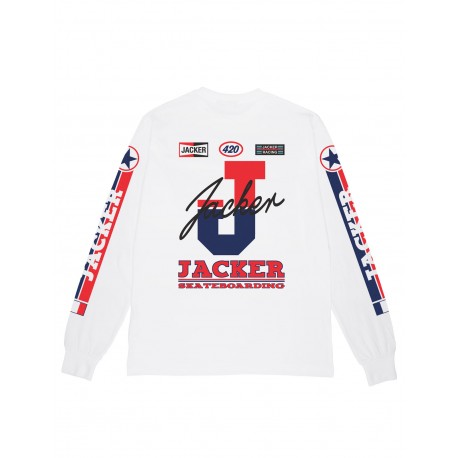 Jacker racer T-shirt, long sleeves blanc