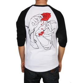 Jacker Holy Roses Raglan T-shirt, blanc